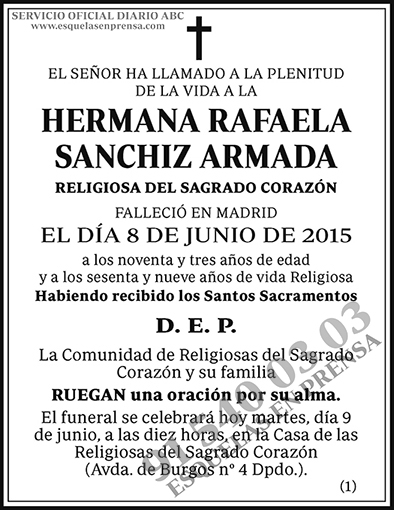 Hermana Rafaela Sanchiz Armada